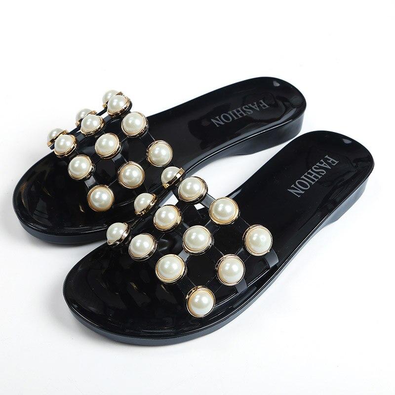 Women Slipper Open Toe Pearl Summer Beach Female Shoes Flat Ladies Slippers Flip Flop Slide Sandals Slip On casual