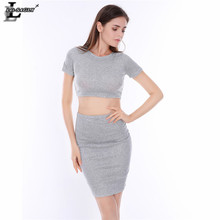 Lei SAGLY Fashion Women Two-pieces Dress Short Sleeve Cotton Grey Package Hip