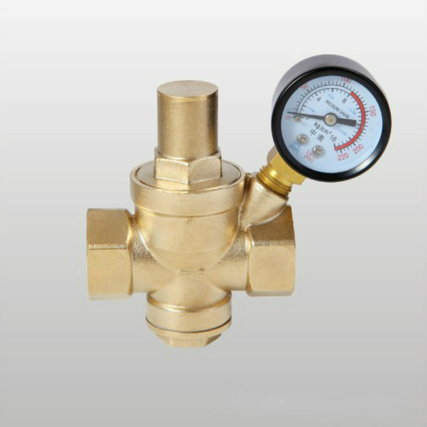 Brass water pressure regulator with Gauge pressure maintaining valve Tap water pressure reducing valve DN40 купить в Москве 2019