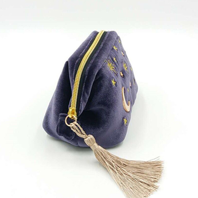 Cute Velvet Embroidery Cosmetic Bag Travel Organizer Women Makeup Bag Zipper Make Up Pouch with Moon Star Tassel Deco 5