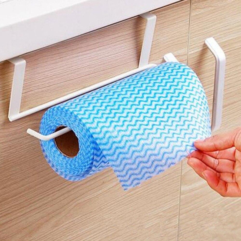 Metal Kitchen Tissue Hanging Holder Bathroom Towel Holder Storage Rack Cabinet Cupboard Draining Shelf Toilet Paper Organizer