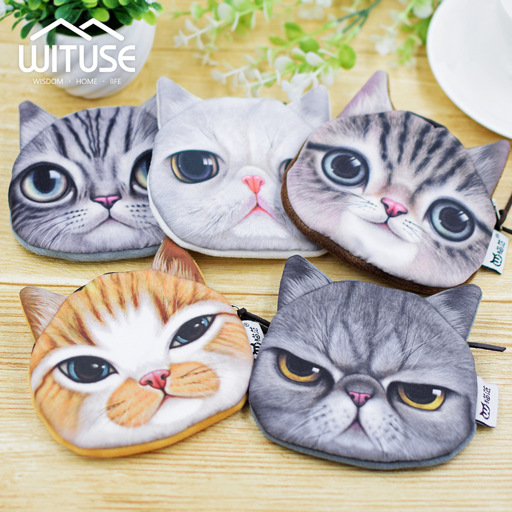 NEW Women Popular 3D Cotton Cat Cat Head Purse Cute Zipper Wallet Coins Storage Bag Pocket Coin Wallet BAG Keychain Lipstick BAG