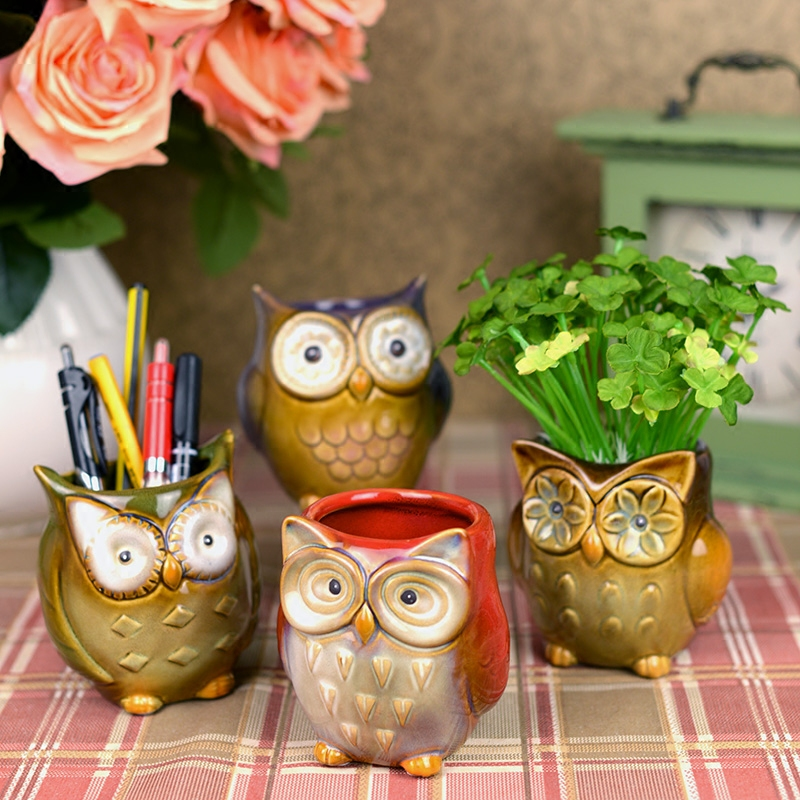 Owl Mugs Fancy Glaze Coffee cup European Home Furnishing study table decoration brush pot