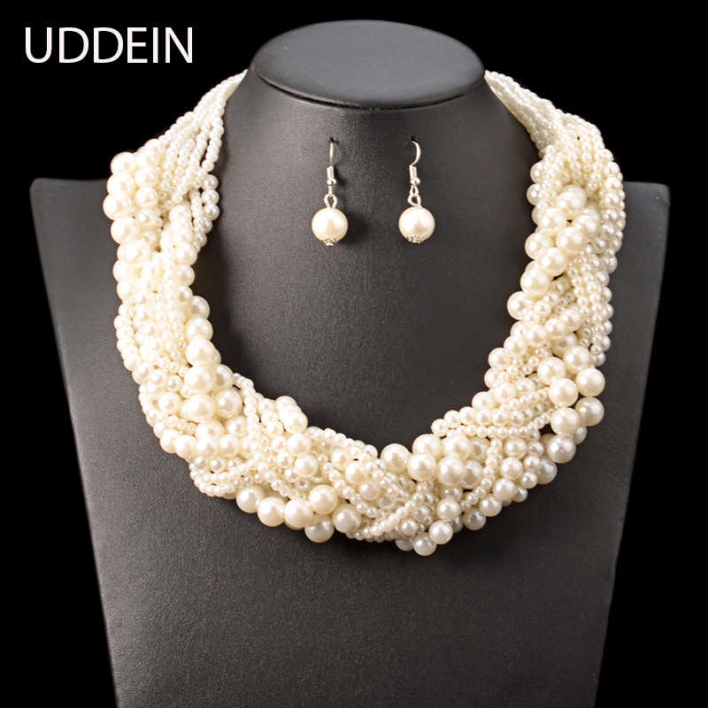 UDDEIN Nigerian wedding Indian jewelry sets bohemian simulated pearl necklace for women accessories wholesale statement chokers