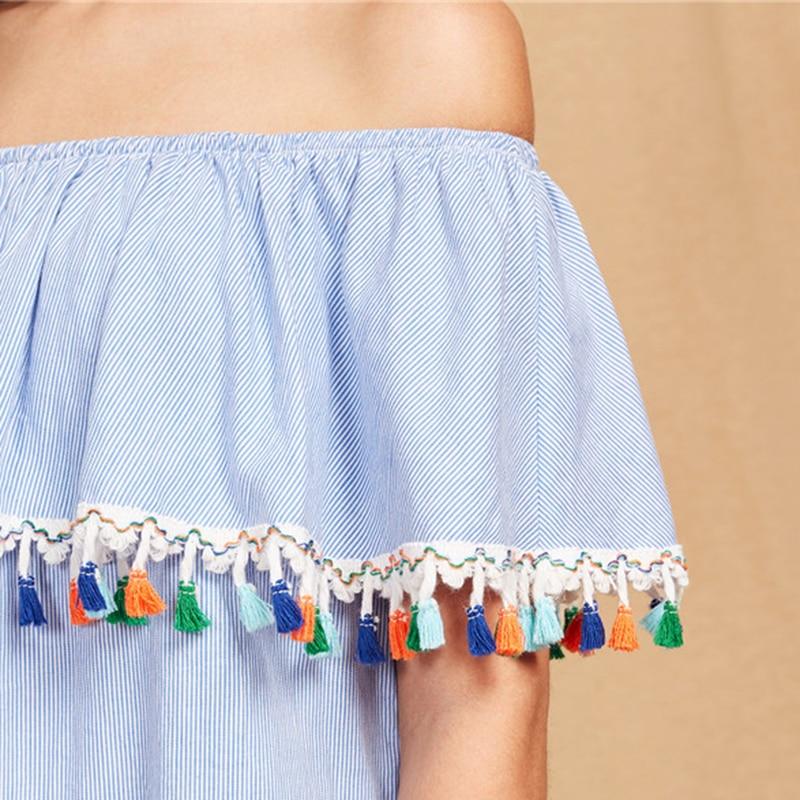 c49e435de9d SHEIN Women Summer Short Sleeve Boho Dress Tassel Trim Striped ...