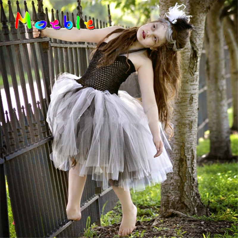 Bride Of Frankenstein Girl Tutu Dress Scary Monster Party Gown Children Cosplay Costume Fancy Clothing Teenagers Dresses