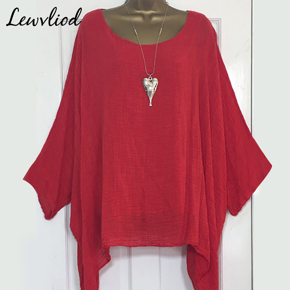 Batwing Sleeve Women's   Blouses     Shirts   Plus Size Solid Casual Female Tunic Top Asymmetric O Neck Loose Summer Ladies Tops   Shirt