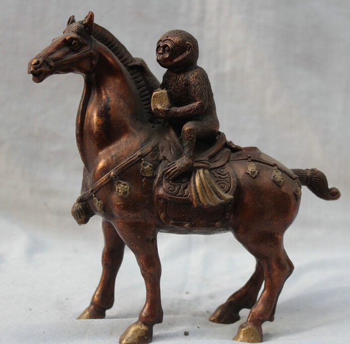 """7"""" China Chinese Bronze Fengshui Zodiac Year Monkey On Horse 12 Animals Statue Statues & Sculptures Home & Garden - title="""