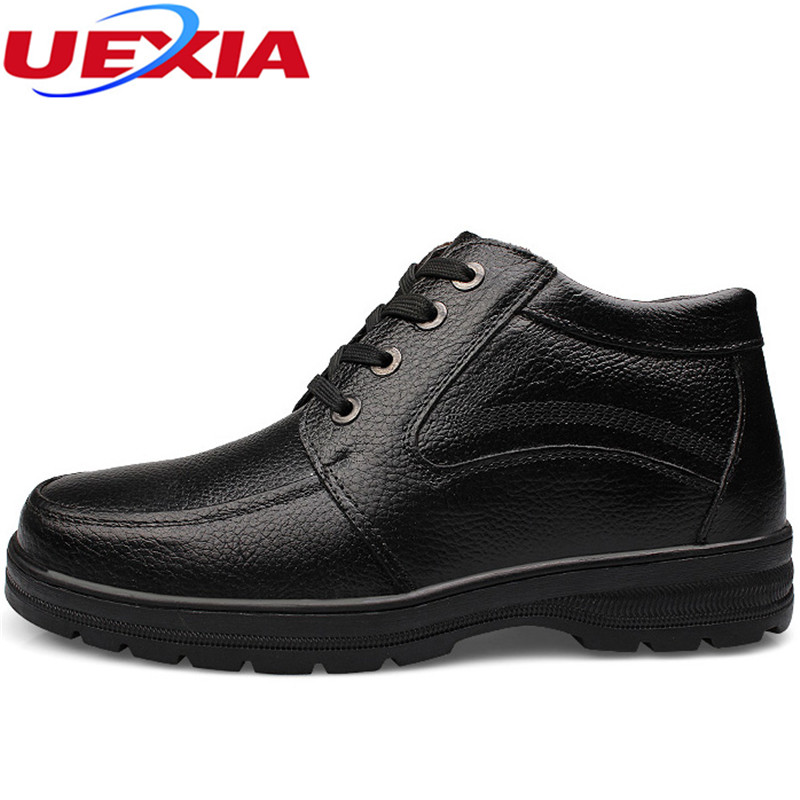 UEXIA High Quality Men Winter Warm Plush Work Safety High Top Ankle Snow Boots Men Shoes Plush Fur Work Safety Father Fur lace big size 46 men s winter sneakers plush ankle boots outdoor high top cotton boots hiking shoes men non slip work mountain shoes