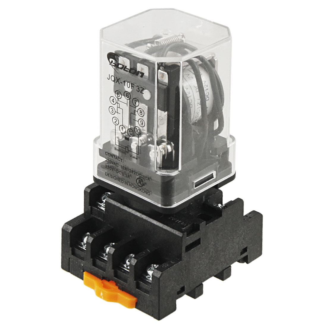 JQX-10F-3Z DC 12V Coil Voltage 3PDT Power Relay 10A w Socket