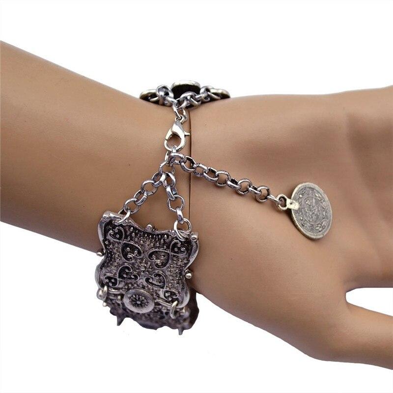 Hippy Boho Pop dangle silver coin Chunky Bohemia sculpté Pièce Bracelets Bangle