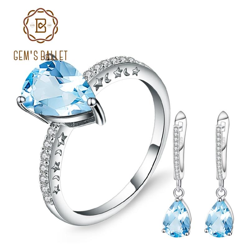 GEM S BALLET 2 4Ct Sky Blue Topaz Water Drop Rings Drop Earrings 925 Sterling Silver