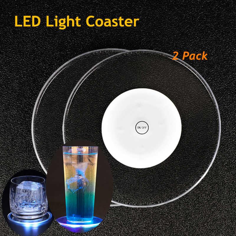 2 팩 아크릴 크리스탈 led 라이트 코스터 바 칵테일 코스터 화이트 컬러 투명 라이트베이스 코스터 다채로운 방수