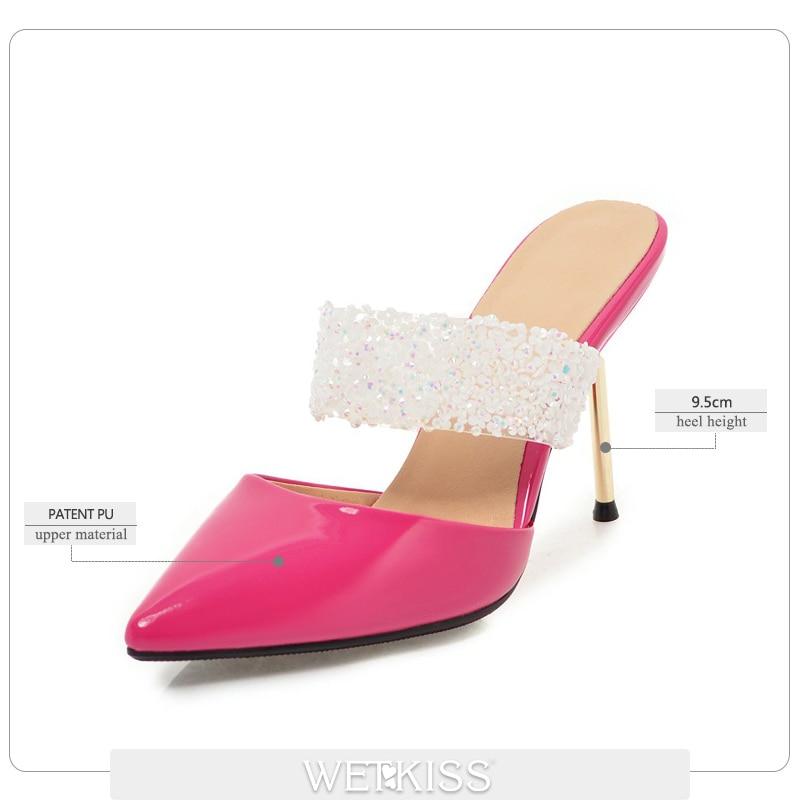 punta spillo per scarpe Diapositive bianco scarpe Party rosso rosso muli a pantofole in le Kiss femminile donne Summer Thin Sexy Wet alti nero 2019 argento punta da cristallo rosa Tacchi a SwWgYU1q