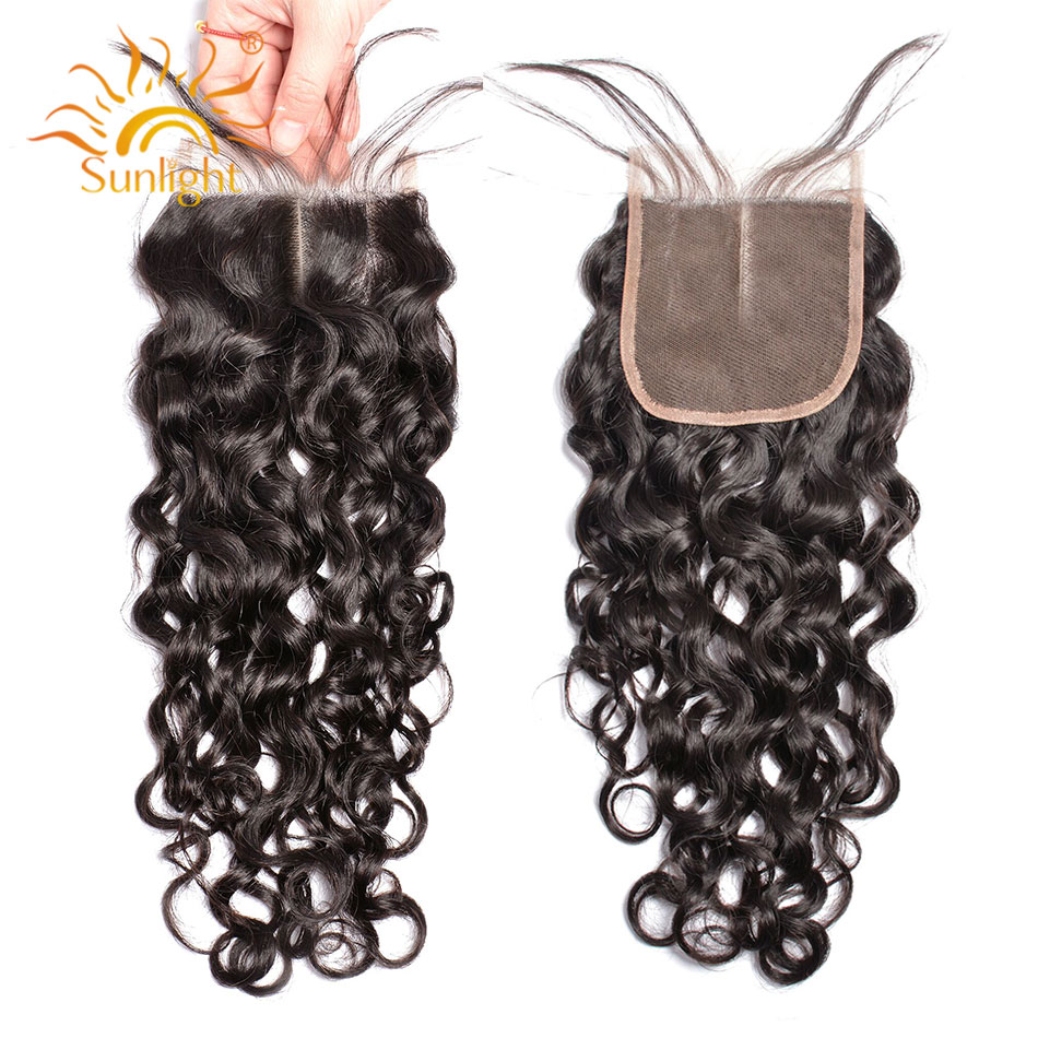 Sunlight Human Hair Lace Closure Brazilian Water Wave Remy Hair Natural Color 100 Human Hair Middle