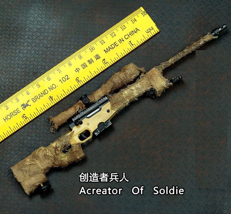 Re painted camouflage cloth + metal sand color old AWP sniper rifle model kid puzzle part ...