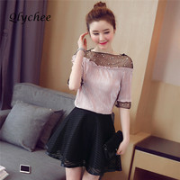 Qlychee Mesh Patchwork Rivet Sexy See Throught Women Blouse Shirt Half Sleeve Elegant Tops 3 Colors