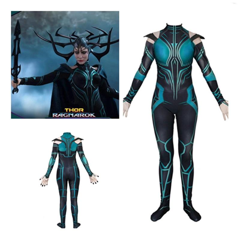 2018 New arrive Movie Thor Ragnarok Hela Cosplay Costume Zentai Bodysuit halloween fancy ball Jumpsuits