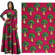 2019 African red national costume poly batik printed cloth 110 grams heavy geometric pattern clothing fabric