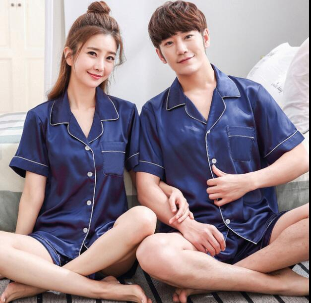 Couples   Pajama   summer Short sleeve Silk Satin Sleepwear Pyjamas Men And Women match lovers Lounge   Pajamas     Set