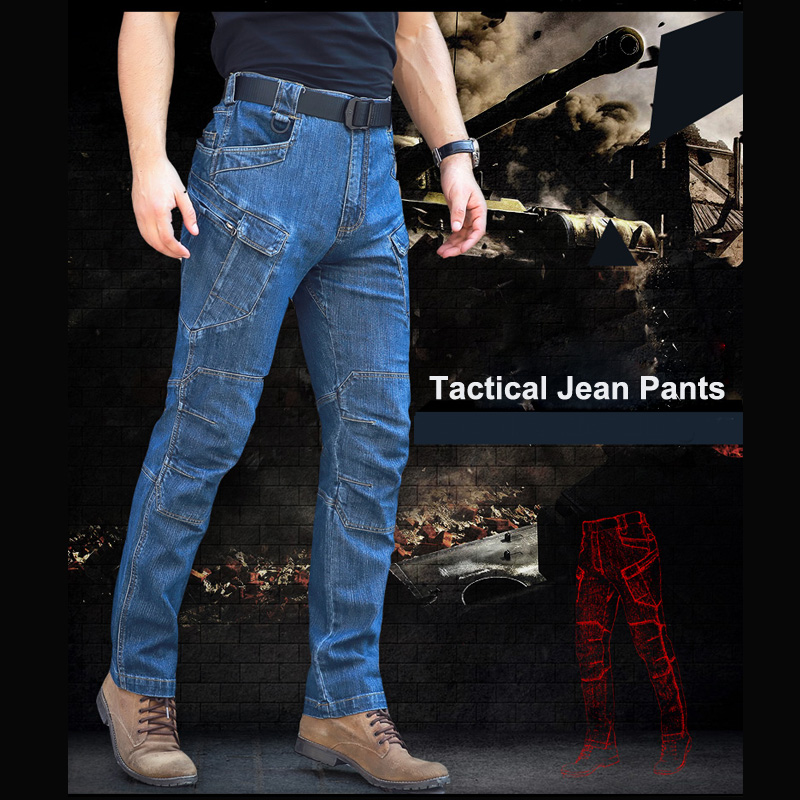 2017 Military Men's  Casual Tactical Jeans Straight Denim Jeans With Tactical Pockets  Man Tactical Trouser Long Cowboy Pant
