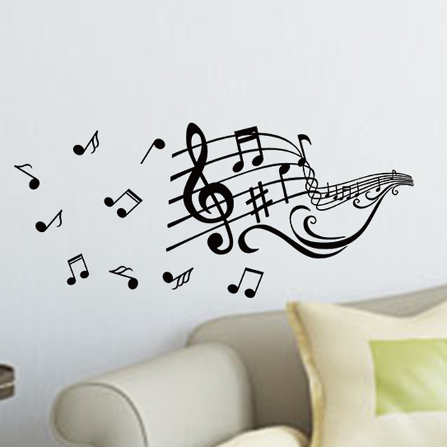 aliexpress : buy pop music notes melody wall sticker fashion