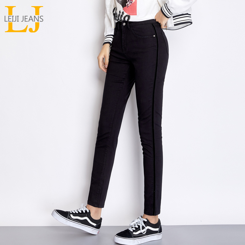 LEIJIJEANS New Arrival Autumn Casual Mid Waist Full Length Black Side Stripe Plus Size 50-120KG Skinny Pencil   Jeans   Women 7402