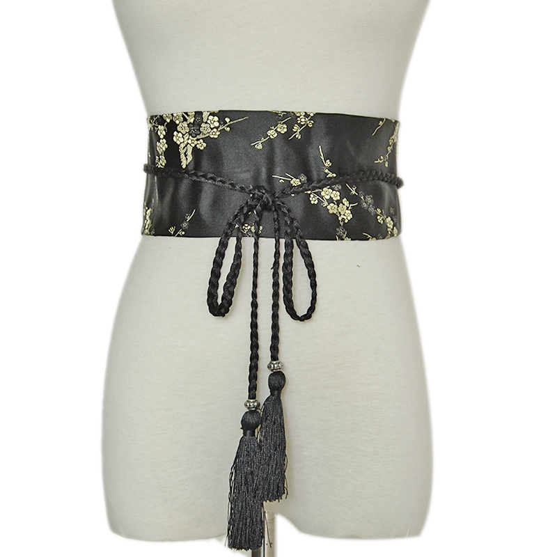 Fashion Female Retro Floral Print Bathrobe Belt Japanese Wide Corset Cummerbunds Kimono Belt Ribbon Belt BG-628