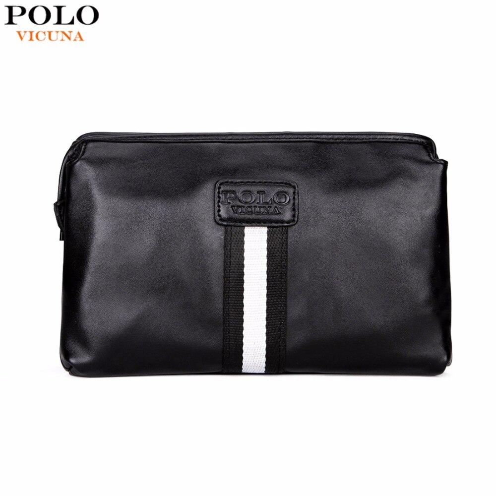 VICUNA POLO Casual British Style Multilayer Men Clutch Wallet Large Capacity Black Leather Envelope Clutch Bag Mens Handbag