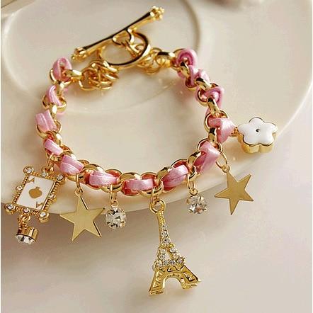 Trendy Leather Bracelet, Flower G Poker A Eiffel Tower Star Bracelets for Women,Cute Girl Charm Braclet Pulseras Hombre