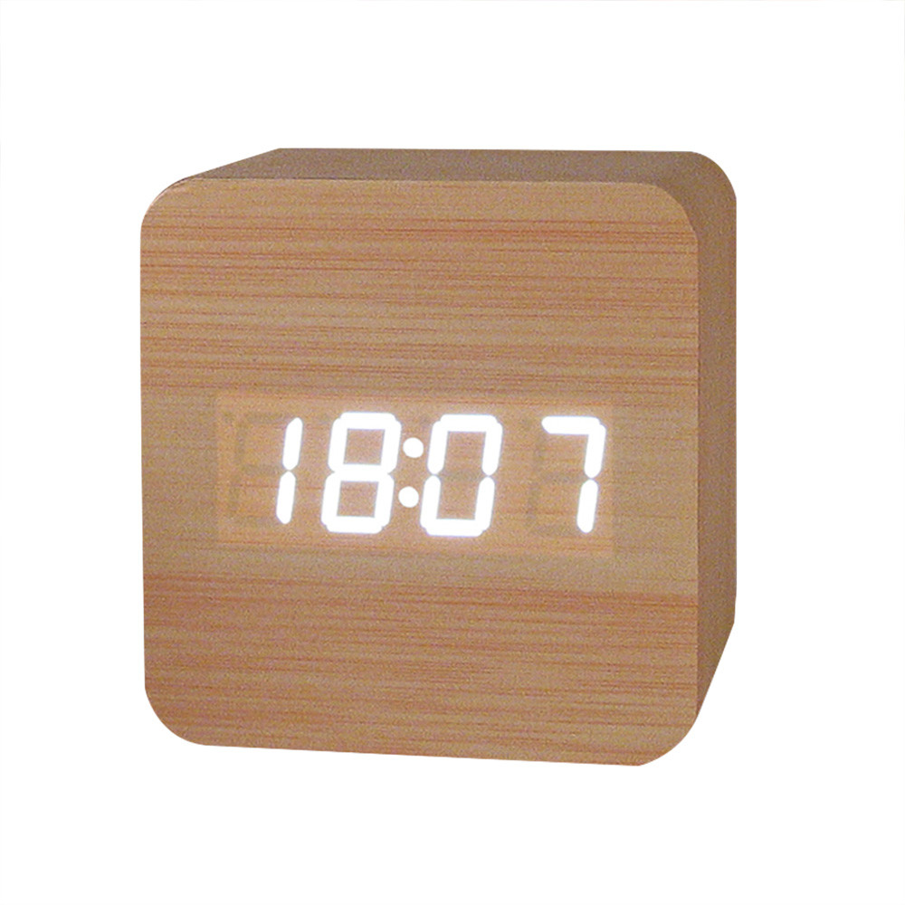 Wooden LED Clock Creative Temperature Display Sounds Control Electronic LED Alarm Clock Home Decor Drop Shipping 2018