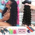 8А Бразильские Волосы Девственницы Свободная Волна Queen Hair Products Свободные глубокая Волна Бразильских Волос 3 Bundle Вьющиеся Переплетения Человеческих Волос расширение