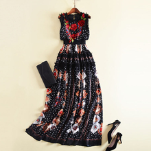 New Fashion 2018 Designer Runway Maxi Dress Women's Sleeveless Flowers Embroidery Retro Dot Printed Patchwork Ruffles Long Dress