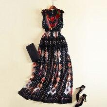 New Fashion 2018 Designer Runway Maxi Dress Women's Sleeveless Flowers Embroidery Retro Dot Printed Patchwork Ruffles Long Dress