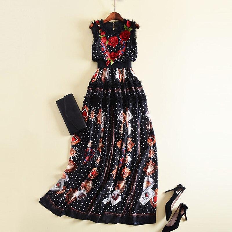 Nouveau mode 2019 Designer piste Maxi robe femmes sans manches fleurs broderie rétro Dot imprimé Patchwork volants longue robe