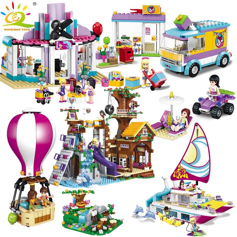 Galleria fotografica HUIQIBAO GIOCATTOLI 6 Stili Serie Amici Figure Building Blocks Giocattoli Dei Bambini Per La Ragazza <font><b>Legoed</b></font> <font><b>City</b></font> Casa Auto Mattoni Compatibile