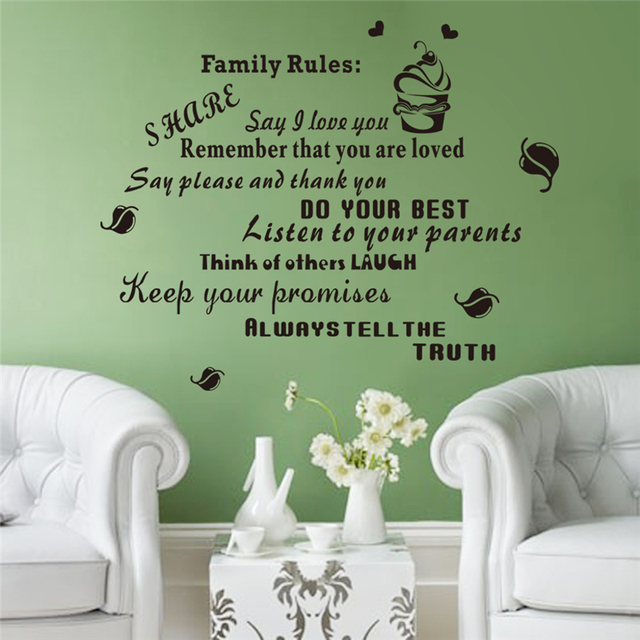 Family Rules Keep Your Promises Vinyl Quotes Wall Decals For Living Room  Wall Art Decor Adesivos
