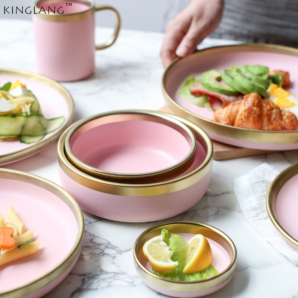 Ceramic Pink Color Golden Slim Dinner Plate Set Mixing Rice Soup Ramen Bowl For Lady