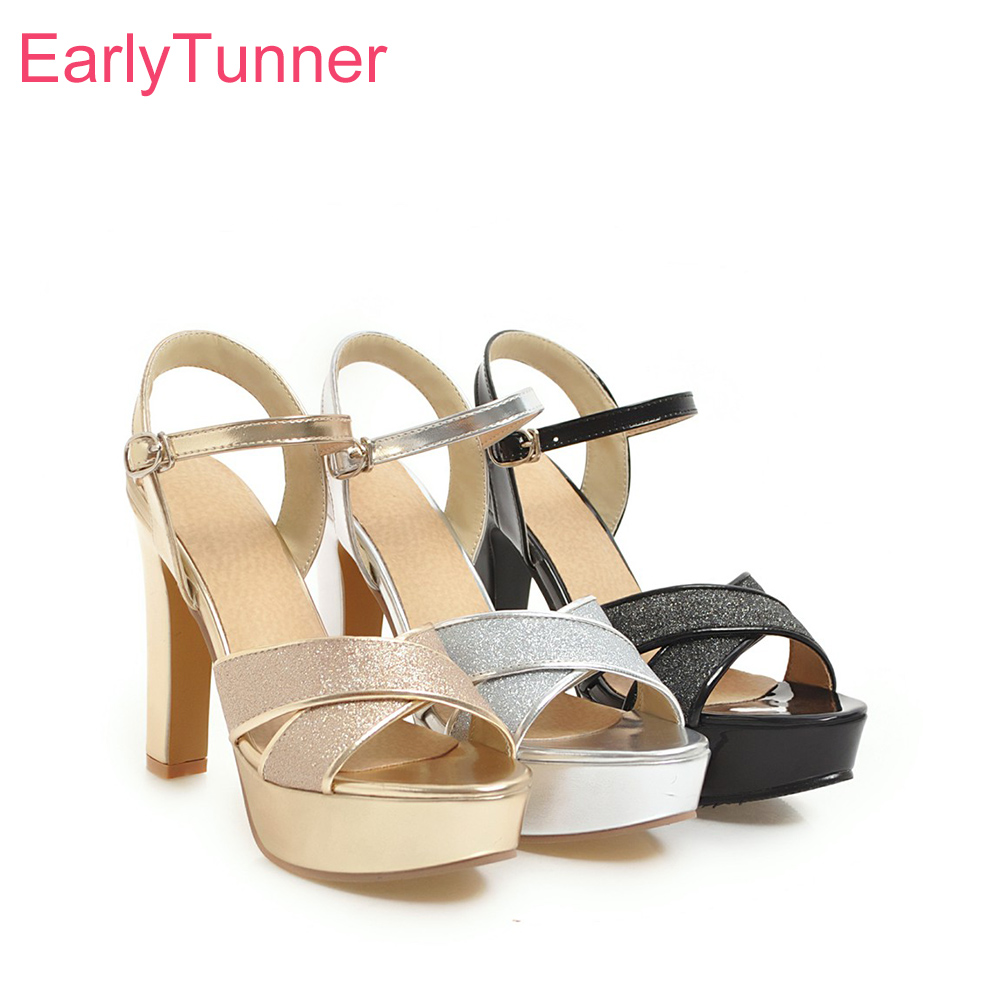 Hot Brand New Summer Glamour Silver Gold Women Platform Party Sandals Gladiator Heels Lady Dress Shoes EH522 Plus Big Size 10 43