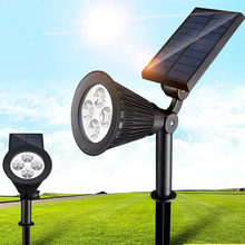 Solar Spotlight Lawn Flood Light Outdoor Garden 4 LED Adjustable 7 Color in Wall Lamp Landscape Light for Patio Decor holiday цена в Москве и Питере