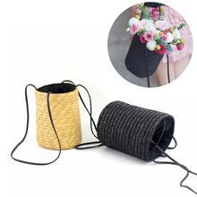 Fashion Beach Handbag Handmade Woven Flower Basket Shoulder Bag Drawstring Hand Straw Braided Bucket Tote Bags For Women