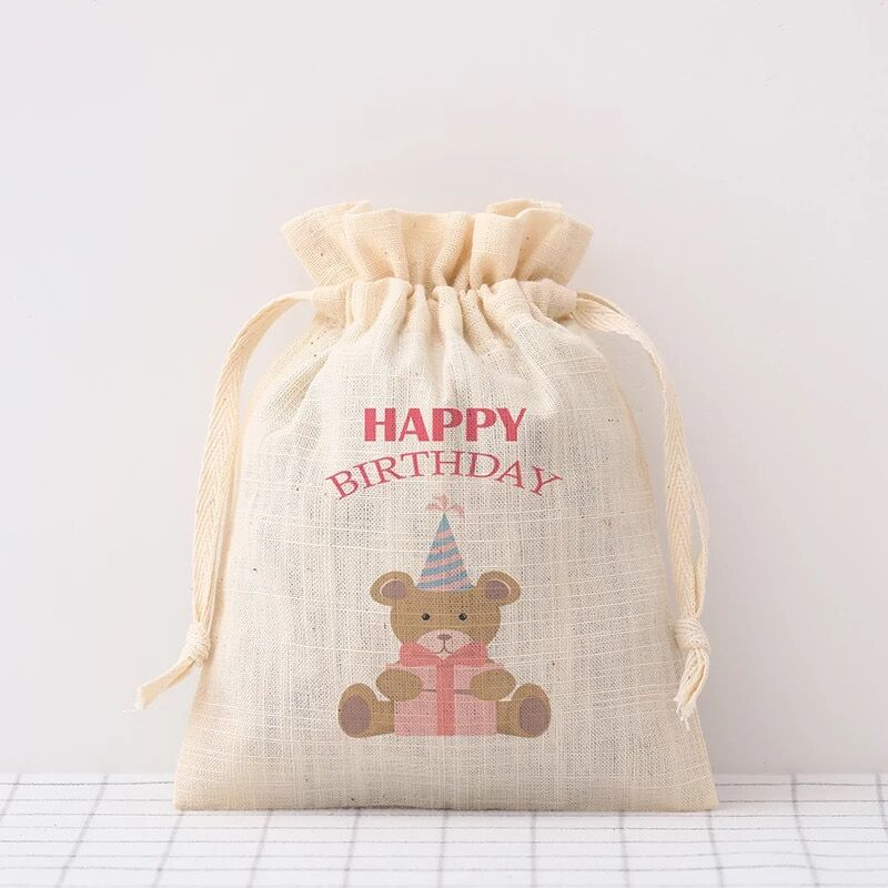 50pcs Personalized Happy Birthday Baby Shower Favor Gifts Bags Drawstring Bag Cotton Candy Bags Custom Name Date Party Decoratio
