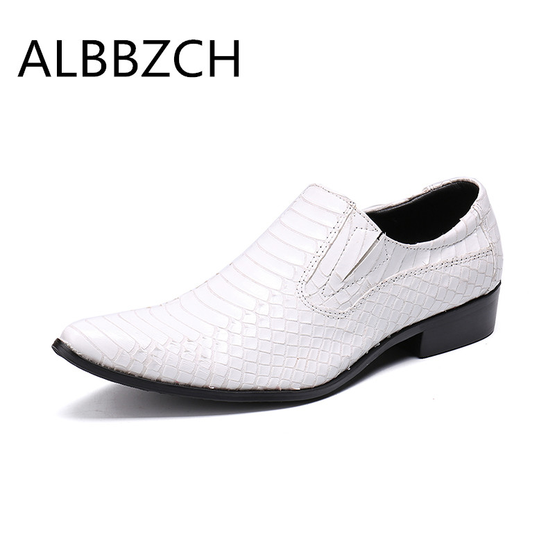 White red pointed toe slip on embossed leather wedding shoes men business casual party shoes mens fashion dress shoes size 37 46