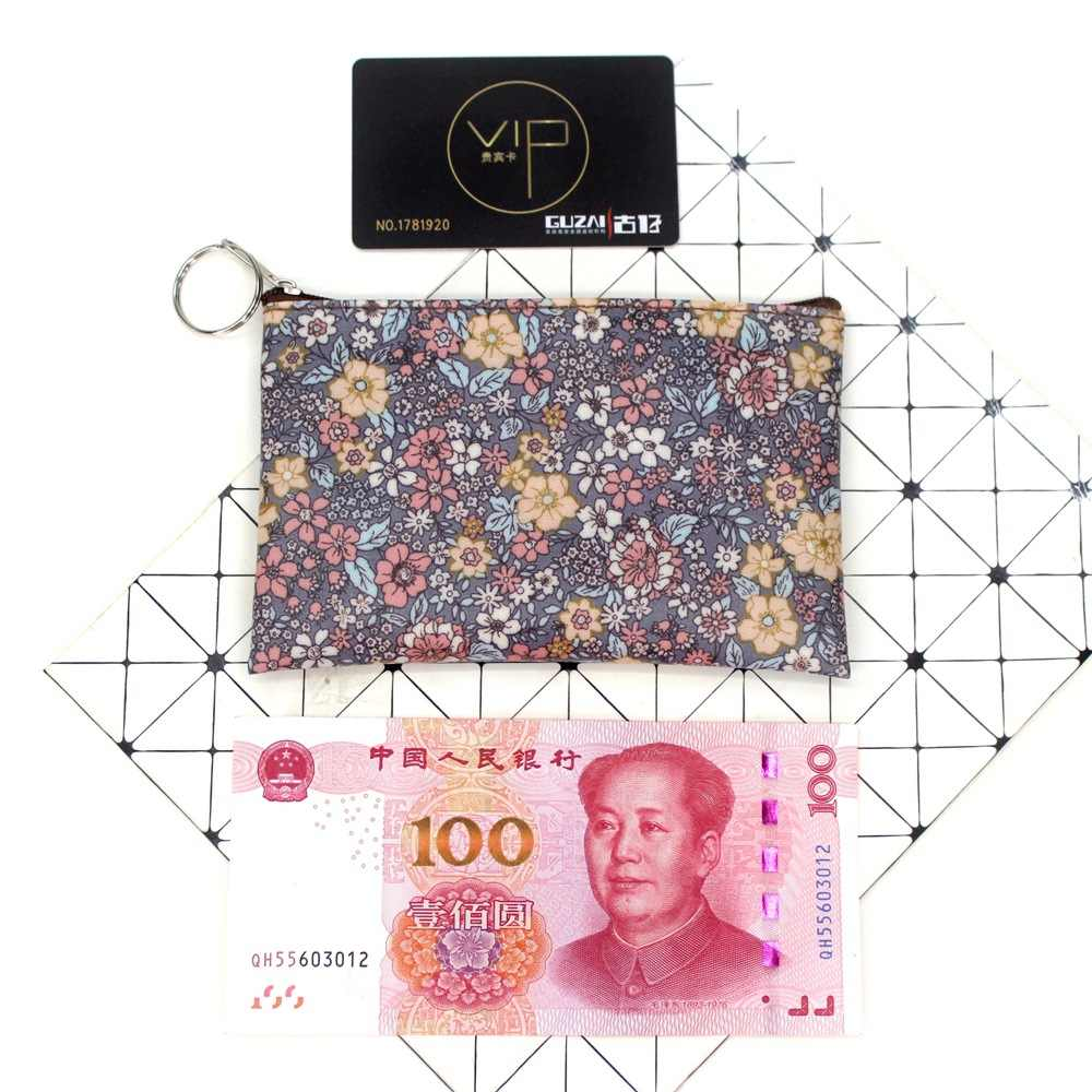 2019 Kasual Vintage Bunga Kecil Dompet Koin Tahan Air Kain Katun Kotak Kecil Kantong Pemegang Kartu Wanita Mini Dompet Koin Tas
