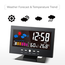 Big sale Colorful LCD Weather Station Clock Digital Thermometer Hygrometer Temperature Humidity Meter Calendar Vioce-activated Backlight