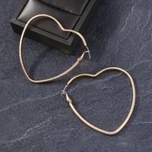 Badu Big Heart Hollowing Hoop Earrings for Women Geometric Exaggerate Jewelry Love Earring Christmas Gift Wholesale