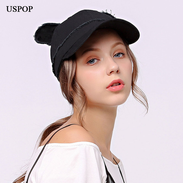 ad38ea5deae USPOP 2018 NEW design women baseball cap Cute ear 100% cotton soft baseball  caps for
