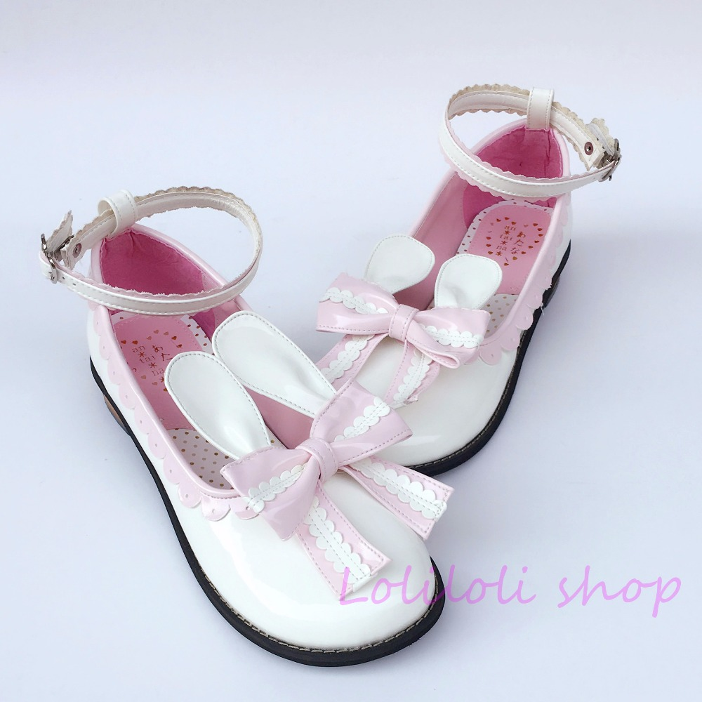 Princess sweet lolita shoes Japanese design customized special shaped white rabbit pink tie Low heeled shoes 8483 цена