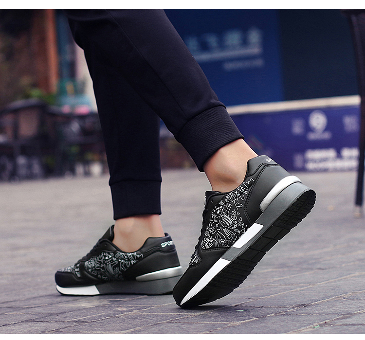 2017 Spring Graffiti Valentine Shoes Women Flat Heel Lace Up Leather Casual Shoes Plush Size 44 Low Top Sport Outdoor Shoes ZD43 (64)