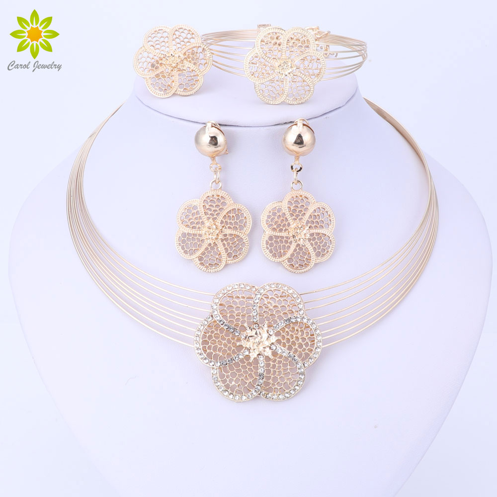 Dubai Gold-color Jewelry Sets Nigerian Wedding African Beads Crystal Necklace Earrings Bracelet Ring Flower Pendant Jewelry Set